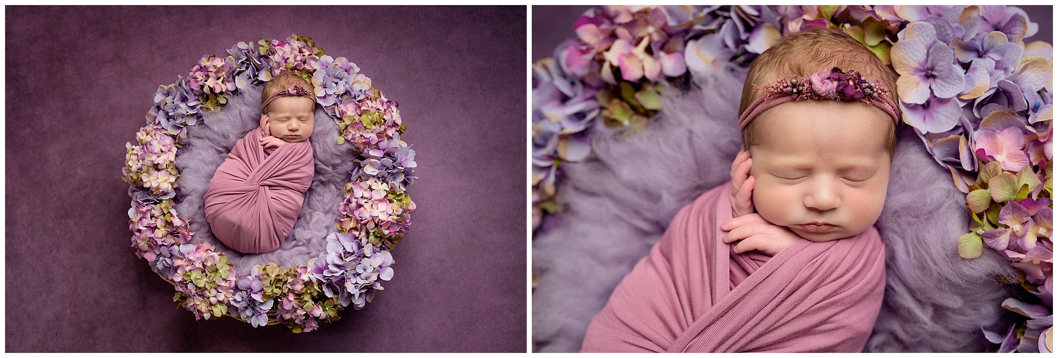 Baby in floral basket mauve and pink by newborn photographer Lynne Harper